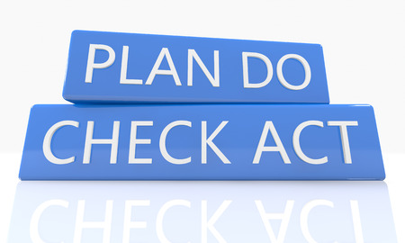 plan do check act: 3d render blue box with text Plan Do Check Act on it on white background with reflection