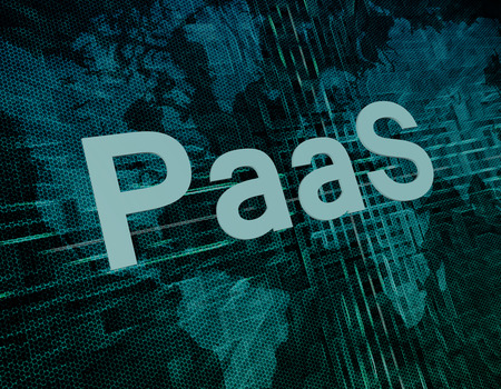 PaaS - Platform as a Service text concept on green digital world map background photo