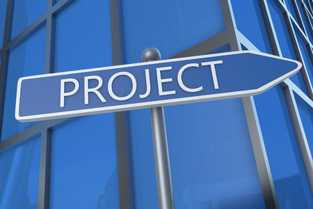 Project - illustration with street sign in front of office building. illustration