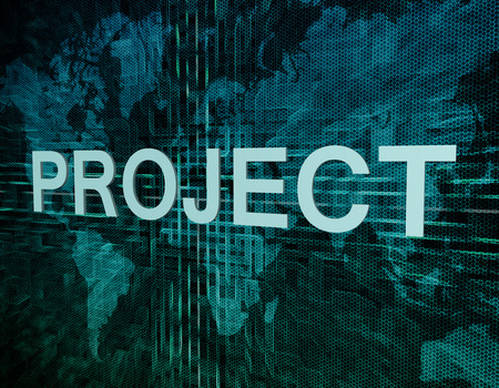 Project text concept on green digital world map background photo