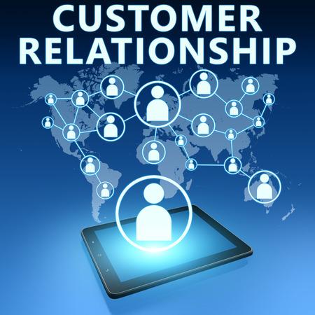 Customer Relationship illustration with tablet computer on blue background illustration