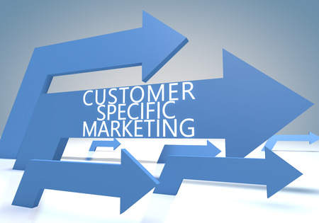 specific: Customer Specific Marketing render concept with blue arrows on a bluegrey background.