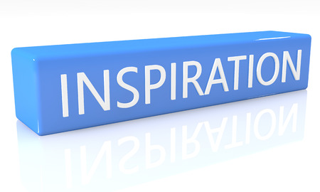 3d render blue box with text Inspiration on it on white background with reflection photo