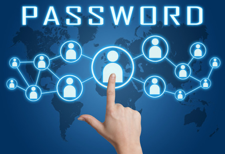 Password concept with hand pressing social icons on blue world map background. photo