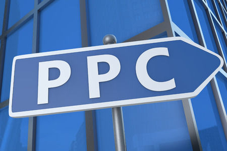 PPC - Pay per Click - illustration with street sign in front of office building. illustration