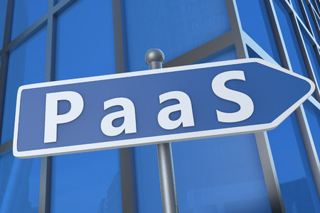 PaaS - Platform as a Service - illustration with street sign in front of office building. illustration