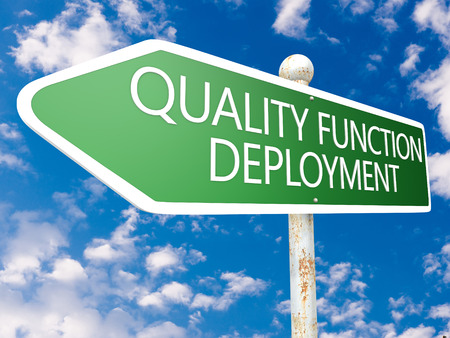 Quality Function Deployment - street sign illustration in front of blue sky with clouds. illustration