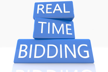 bidding: 3d render blue box with text Real Time Bidding on it on white background with reflection