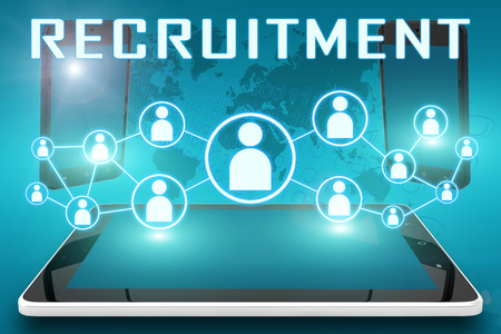 Recruitment - text illustration with social icons and tablet computer and mobile cellphones on cyan digital world map background Stock Photo