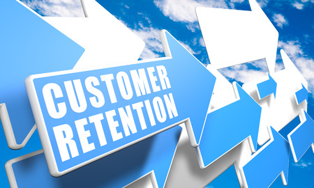 Customer Retention 3d render concept with blue and white arrows flying in a blue sky with clouds photo