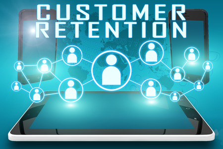 Customer Retention - text illustration with social icons and tablet computer and mobile cellphones on cyan digital world map background illustration