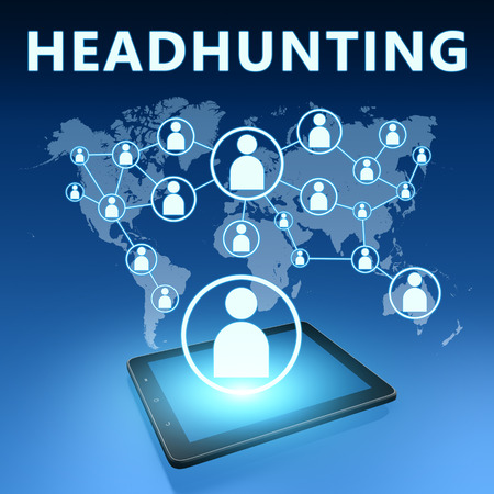 headhunting: Headhunting illustration with tablet computer on blue background