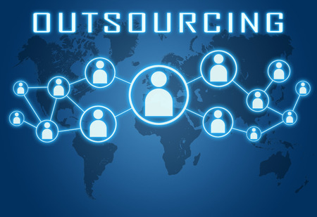Outsourcing concept on blue background with world map and social icons. photo