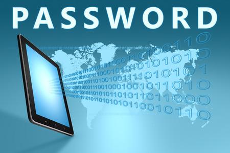 Password illustration with tablet computer on blue background illustration