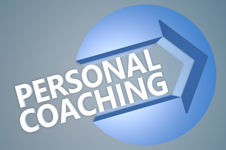 Personal Coaching - 3d text render illustration concept with a arrow in a circle on blue-grey background illustration