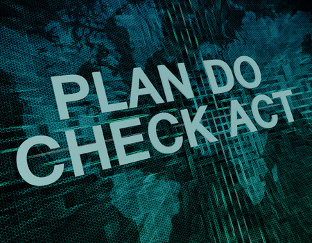 plan do check act: Plan Do Check Act text concept on green digital world map background