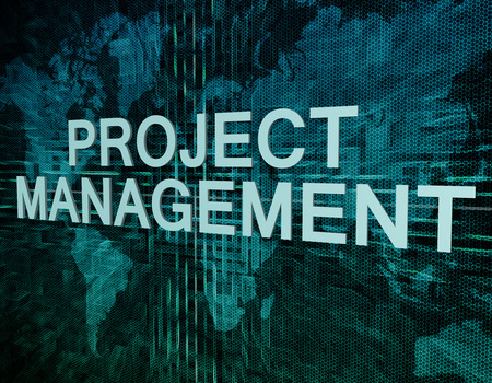 Project Management text concept on green digital world map background