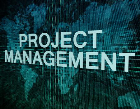 녹색 디지털 세계지도 배경에 프로젝트 관리 텍스트 개념