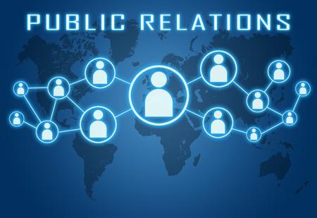 relaciones publicas: Concepto de Relaciones Públicas en fondo azul con el mapa del mundo y los iconos sociales.