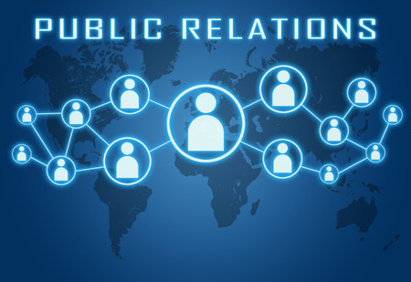 Public Relations concept on blue background with world map and social icons. Stock Photo