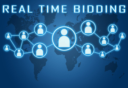bidding: Real Time Bidding concept on blue background with world map and social icons. Stock Photo