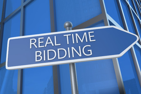 bidding: Real Time Bidding - illustration with street sign in front of office building.