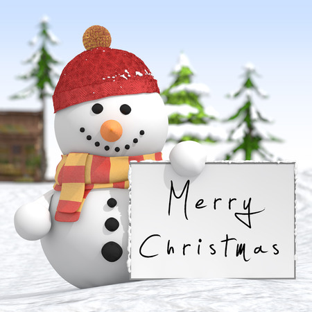 Snowman with red hat and scarf holding a signboard in left hand with text Merry Christmas on it in a snow landscape photo