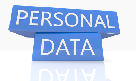 personal data: 3d render blue box with text Personal Data on it on white background with reflection