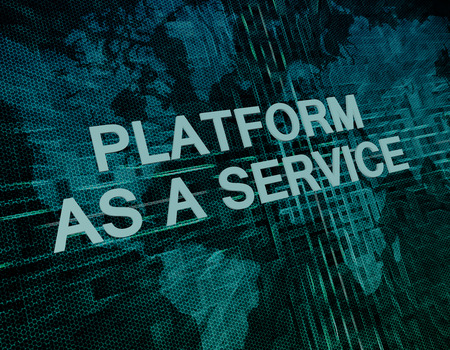 Platform as a Service text concept on green digital world map background photo