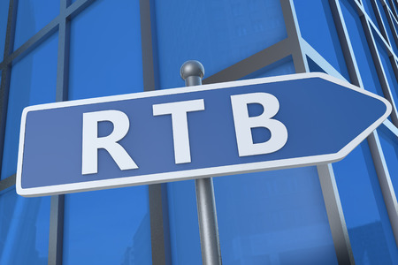bidding: RTB - Real Time Bidding - illustration with street sign in front of office building.