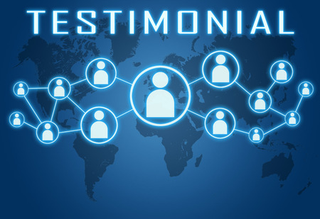Testimonial concept on blue background with world map and social icons.