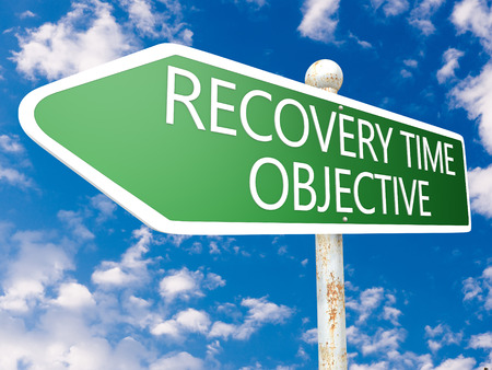 time critical: Recovery Time Objective - street sign illustration in front of blue sky with clouds.