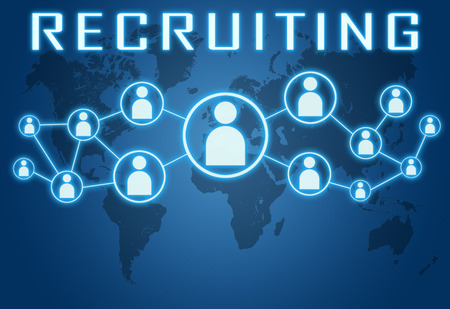Recruiting concept on blue background with world map and social icons.