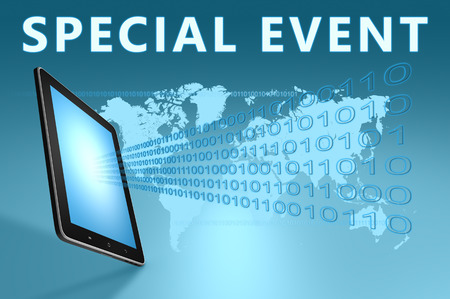 special event: Special Event illustration with tablet computer on blue background Stock Photo