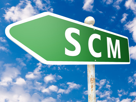 scm: SCM - Supply Chain Management - street sign illustration in front of blue sky with clouds.