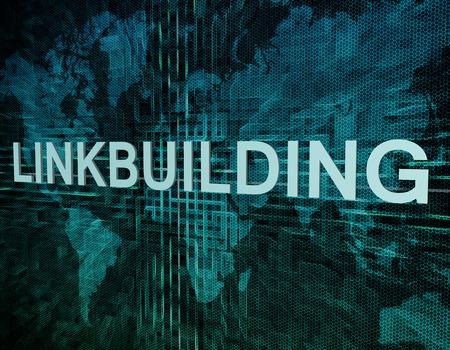 linkbuilding: Linkbuilding text concept on green digital world map background Stock Photo