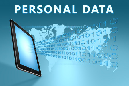 personal data: Personal Data illustration with tablet computer on blue background Stock Photo