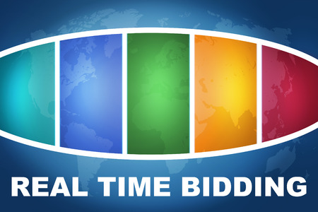 bidding: Real Time Bidding text illustration concept on blue background with colorful world map Stock Photo