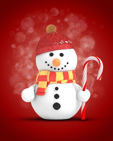 Snowman with red hat and scarf holding candy cane in left hand on festive red background photo