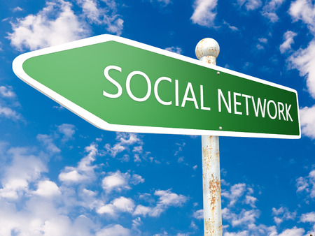 wikis: Social Network - street sign illustration in front of blue sky with clouds. Stock Photo