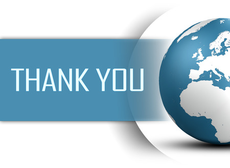 Thank you concept with globe on white background