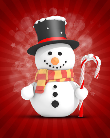 Snowman with black top hat and scarf holding candy cane in left hand on festive red background photo