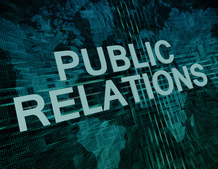Public Relations text concept on green digital world map background photo