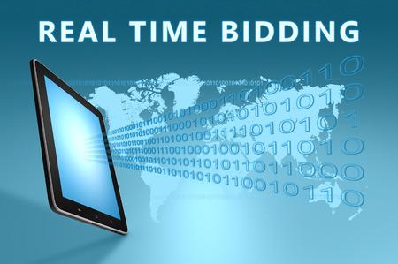 bidding: Real Time Bidding illustration with tablet computer on blue background