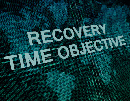 time critical: Recovery Time Objective text concept on green digital world map background