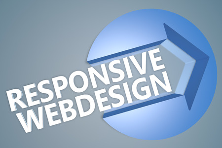 Responsive Webdesign - 3d text render illustration concept with a arrow in a circle on blue-grey background illustration
