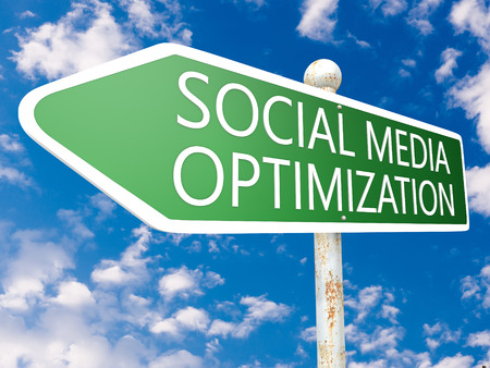 smo: Social Media Optimization - street sign illustration in front of blue sky with clouds.