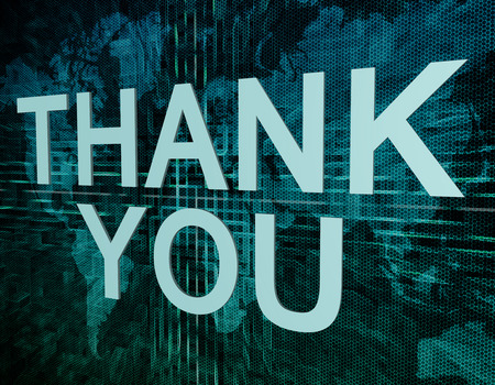 Thank you text concept on green digital world map background