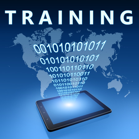 knowlage: Training illustration with tablet computer on blue background