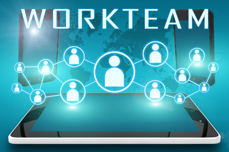 workteam: Workteam - text illustration with social icons and tablet computer and mobile cellphones on cyan digital world map background
